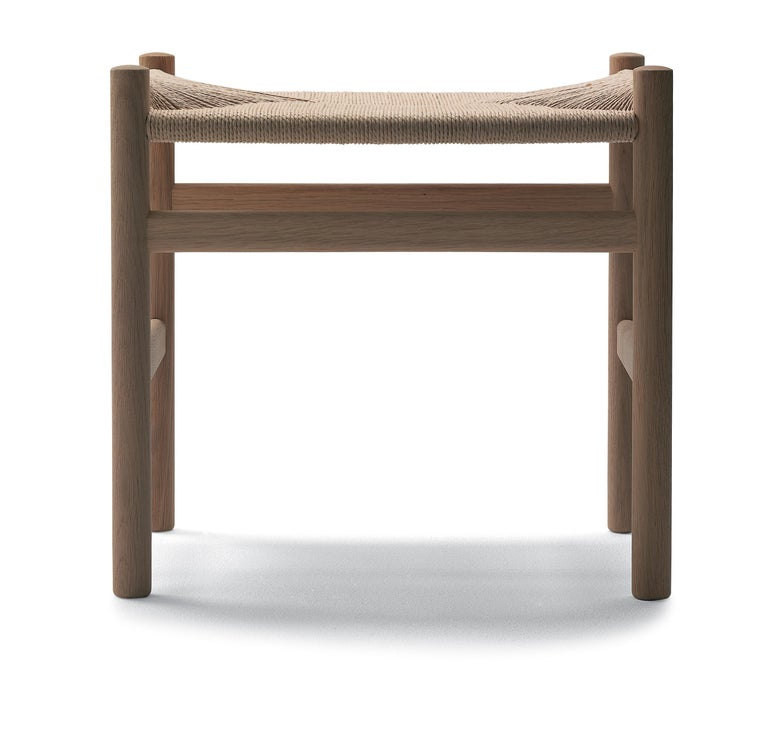For Sale: Beige (Oak White Oil) CH53 Foot Stool in Wood with Natural Papercord Seat by Hans J. Wegner