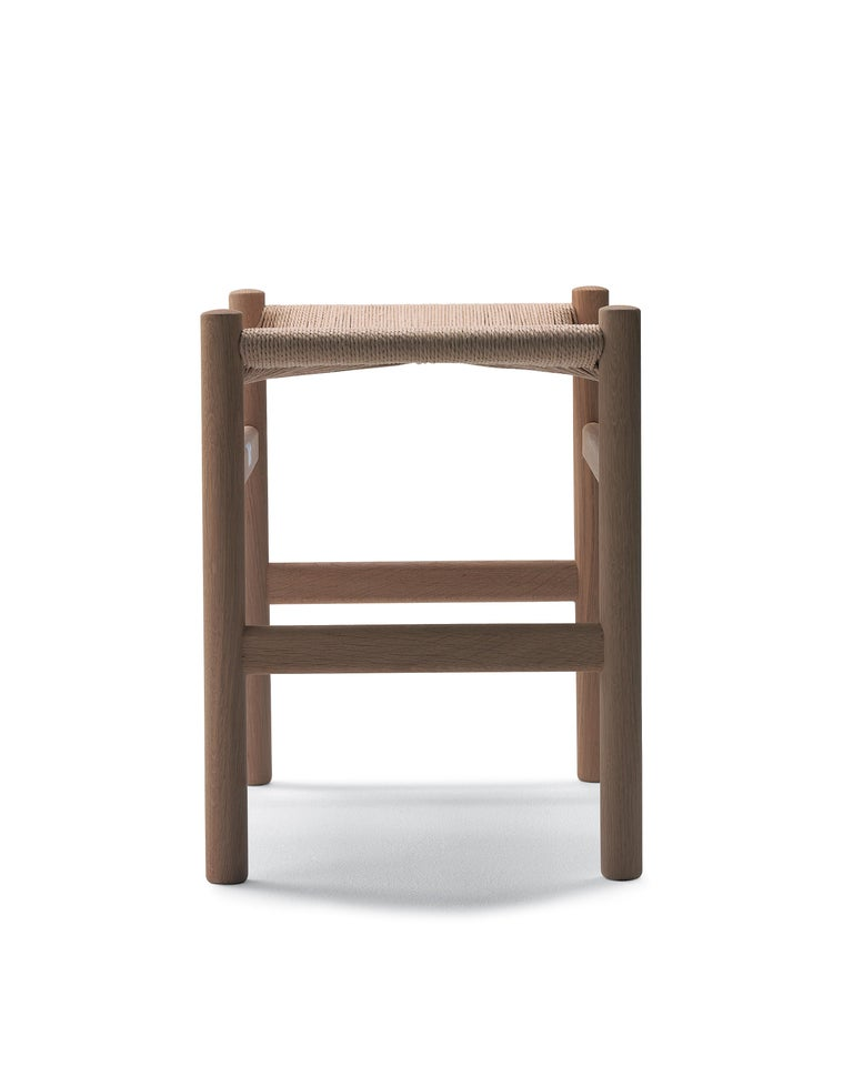 For Sale: Beige (Oak White Oil) CH53 Foot Stool in Wood with Natural Papercord Seat by Hans J. Wegner 2