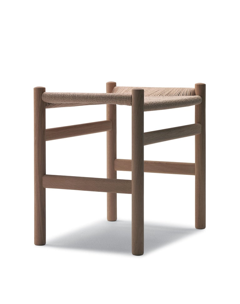 For Sale: Beige (Oak White Oil) CH53 Foot Stool in Wood with Natural Papercord Seat by Hans J. Wegner 3