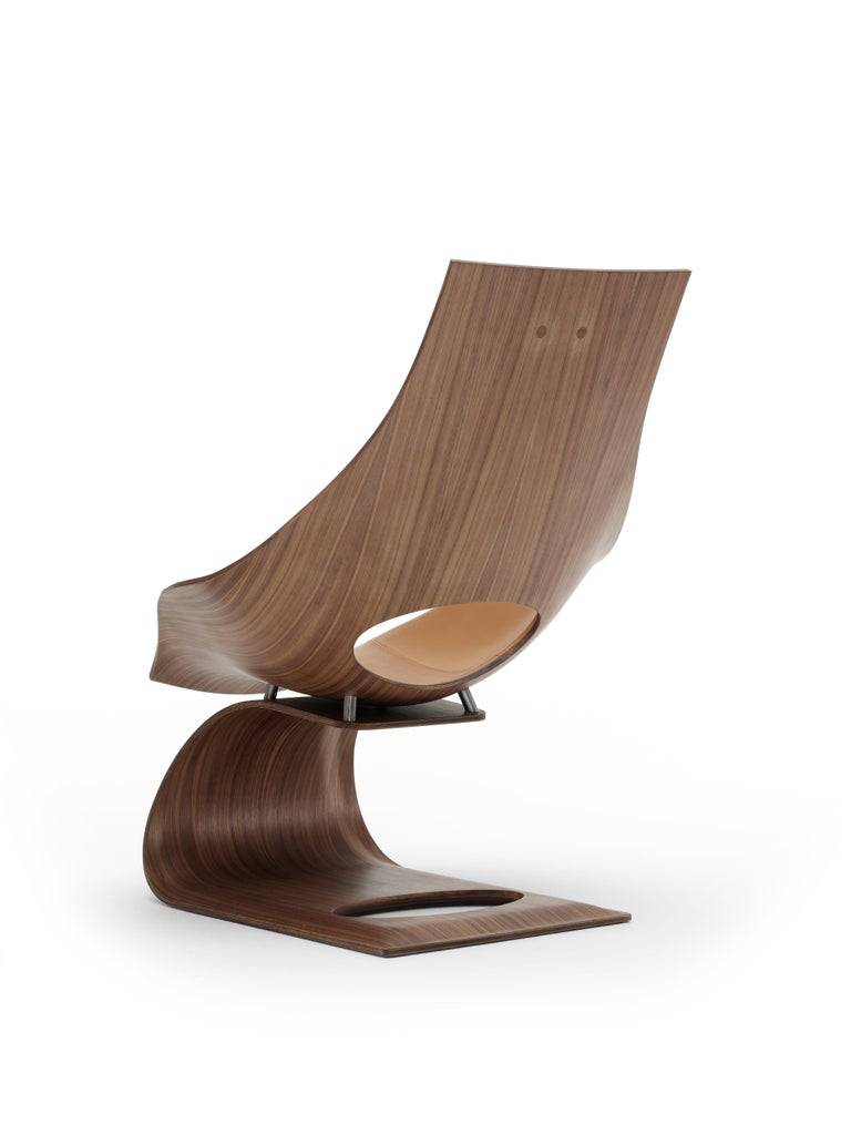 For Sale: Brown (Sif 95) TA001P Dream Chair with Cushion in Walnut Oil by Tadao Ando 2