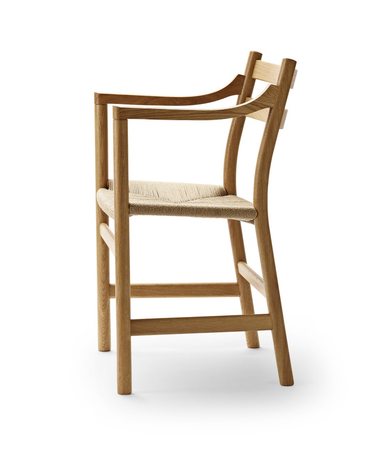 For Sale: Brown (Oak Oil) CH46 Dining Chair in Wood Finishes with Natural Papercord Seat by Hans J. Wegner 2