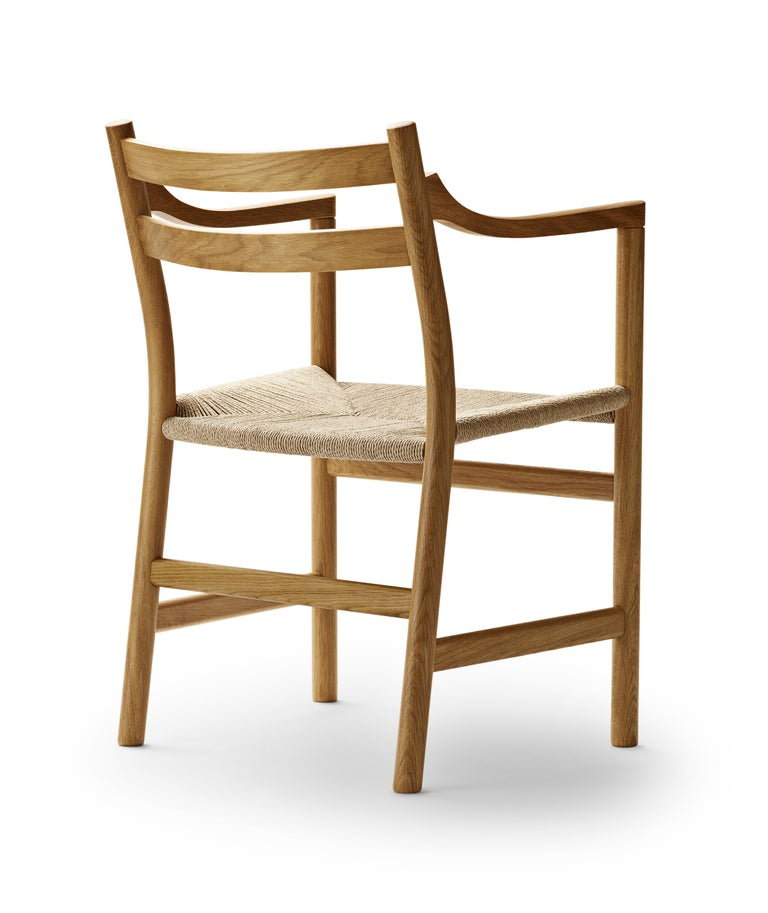 For Sale: Brown (Oak Oil) CH46 Dining Chair in Wood Finishes with Natural Papercord Seat by Hans J. Wegner 3