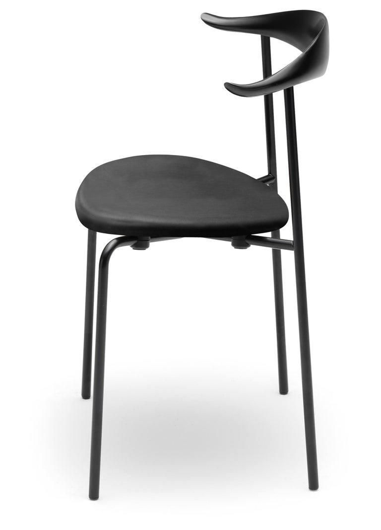 For Sale: Black (Thor 301) CH88P Dining Chair in Beech Painted Black with Steel Base by Hans J. Wegner 2