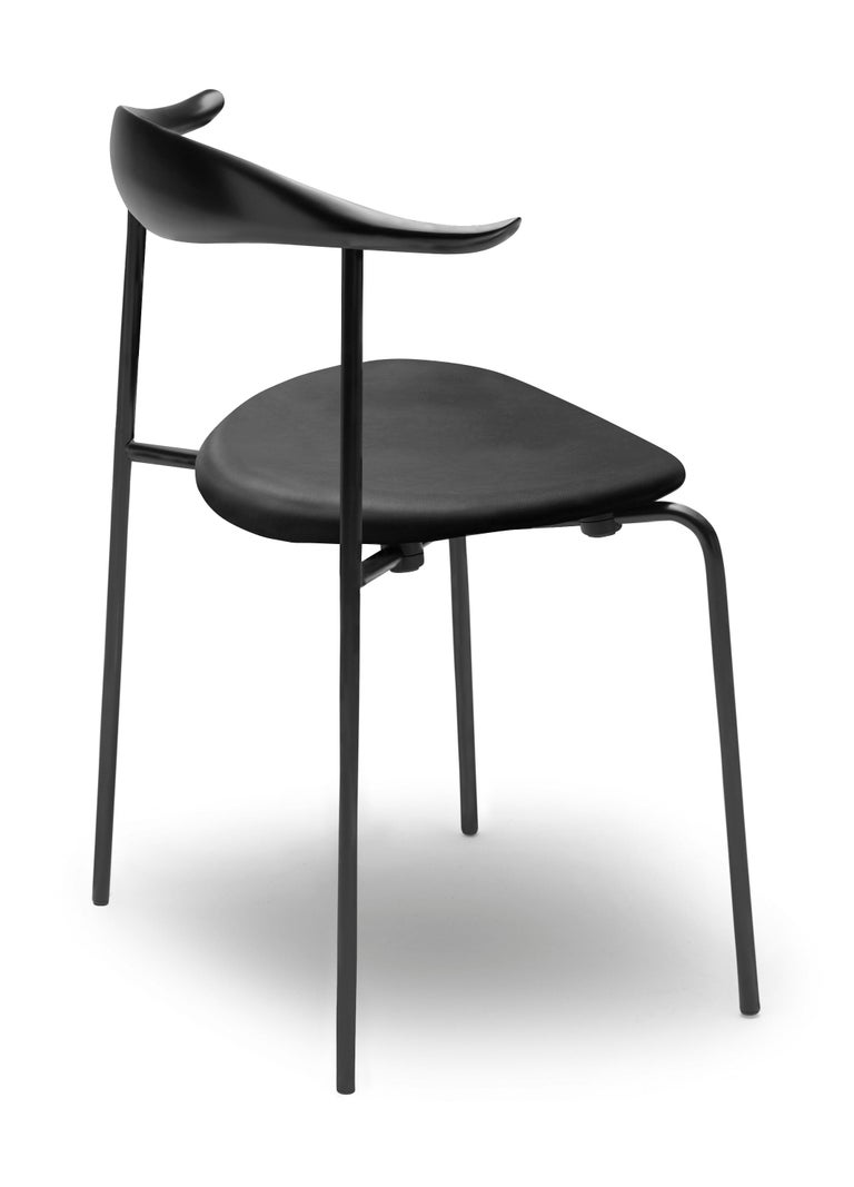 For Sale: Black (Thor 301) CH88P Dining Chair in Beech Painted Black with Steel Base by Hans J. Wegner 3