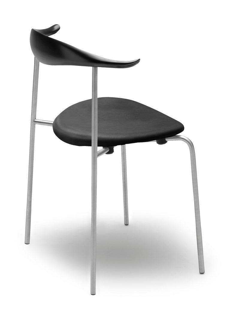 For Sale: Black (Thor 301) CH88P Dining Chair in Beech Painted Black with Chrome Base by Hans J. Wegner 2