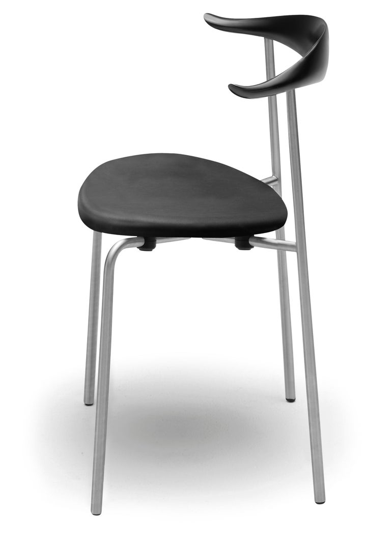 For Sale: Black (Thor 301) CH88P Dining Chair in Beech Painted Black with Chrome Base by Hans J. Wegner 3