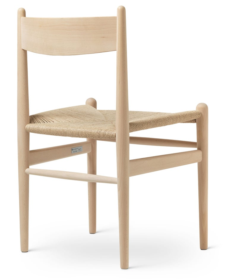 For Sale: Beige (Beech Soap) CH36 Dining Chair in Wood Finishes with Natural Papercord Seat by Hans J. Wegner 3