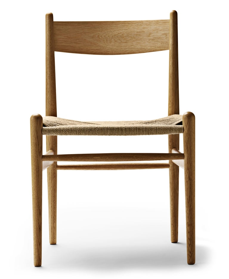 For Sale: Brown (Oak Oil) CH36 Dining Chair in Wood Finishes with Natural Papercord Seat by Hans J. Wegner