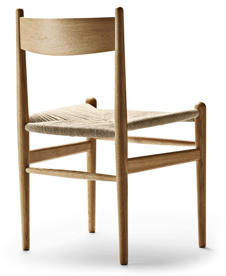 For Sale: Brown (Oak Oil) CH36 Dining Chair in Wood Finishes with Natural Papercord Seat by Hans J. Wegner 3