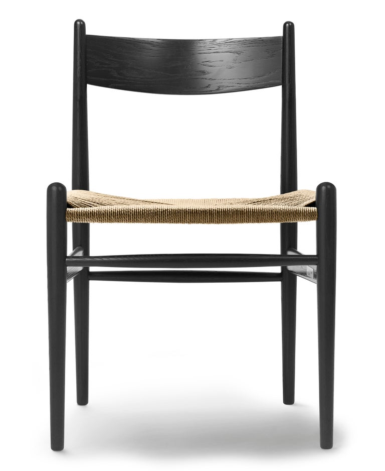 For Sale: Black (Oak Painted blacks9000-N) CH36 Dining Chair in Wood Finishes with Natural Papercord Seat by Hans J. Wegner