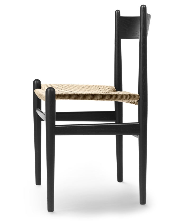 For Sale: Black (Oak Painted blacks9000-N) CH36 Dining Chair in Wood Finishes with Natural Papercord Seat by Hans J. Wegner 2