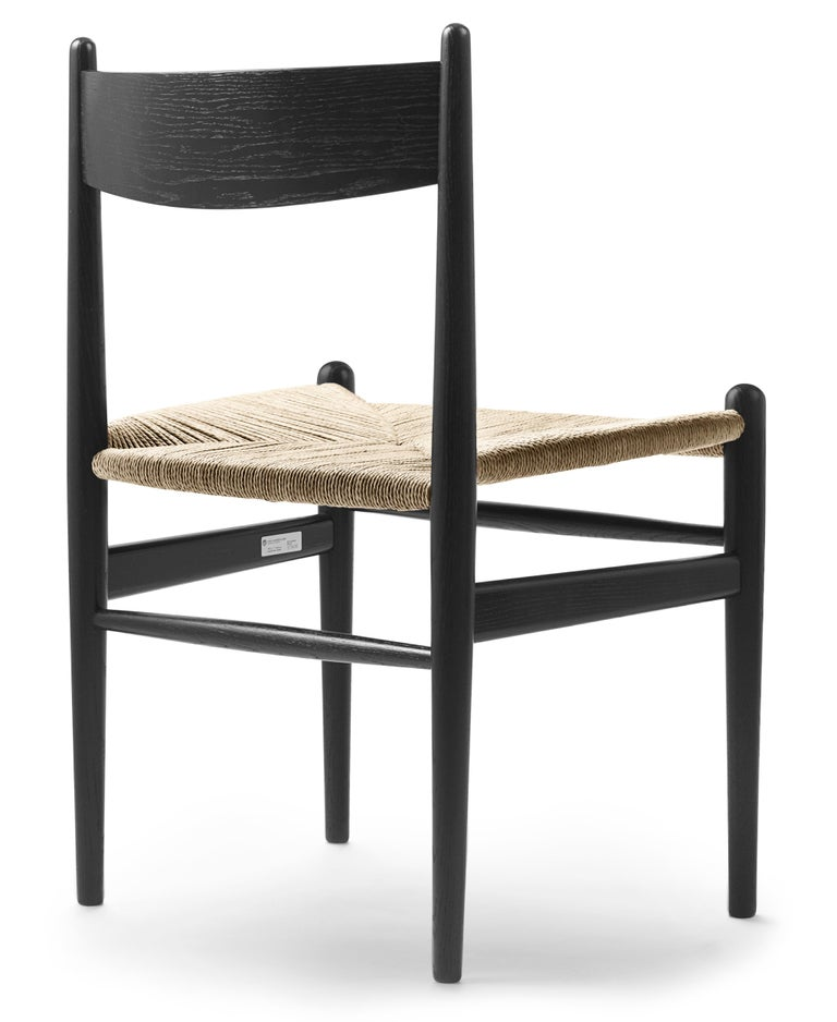 For Sale: Black (Oak Painted blacks9000-N) CH36 Dining Chair in Wood Finishes with Natural Papercord Seat by Hans J. Wegner 3