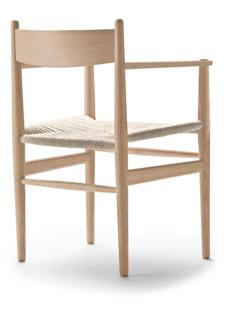 For Sale: Beige (Oak White Oil) CH37 Dining Chair in Wood Finishes with Natural Papercord Seat by Hans J. Wegner 3