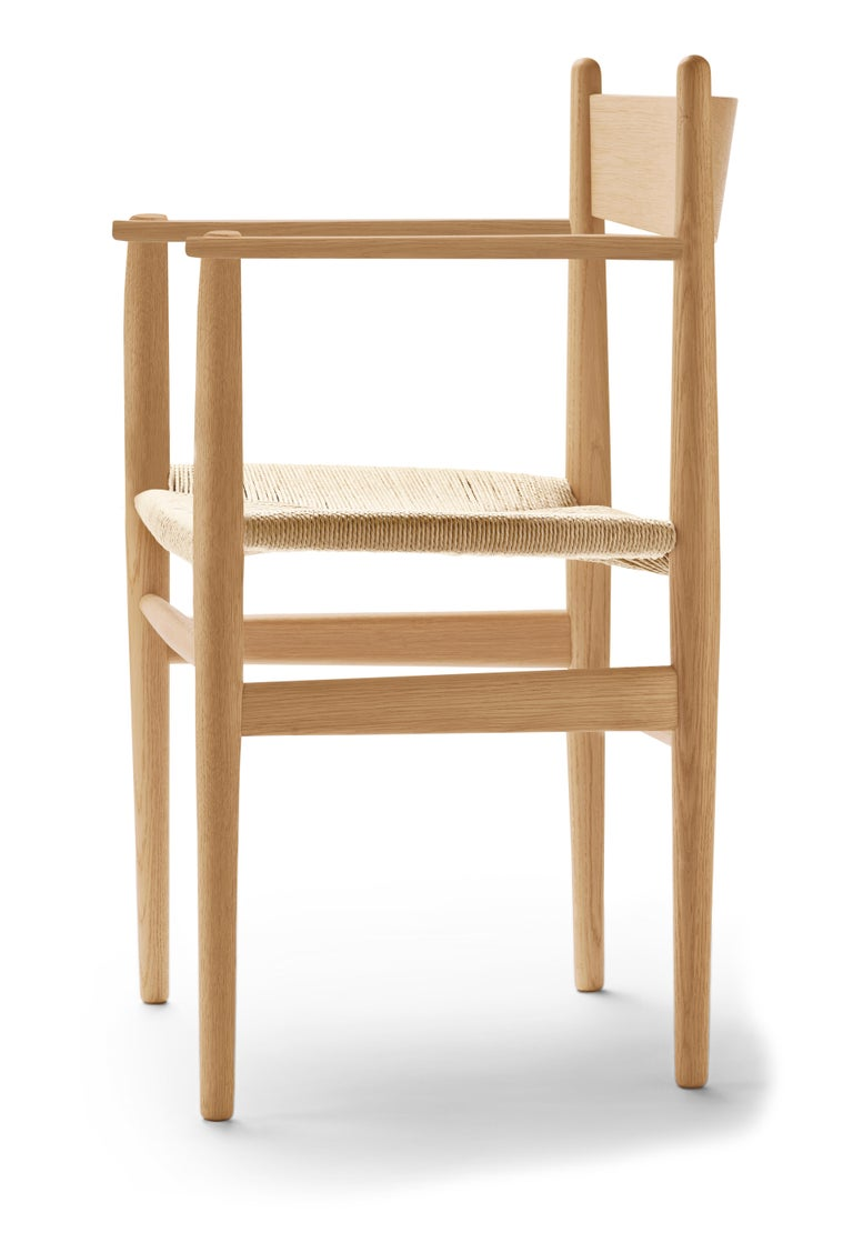 For Sale: Brown (Oak Oil) CH37 Dining Chair in Wood Finishes with Natural Papercord Seat by Hans J. Wegner 2