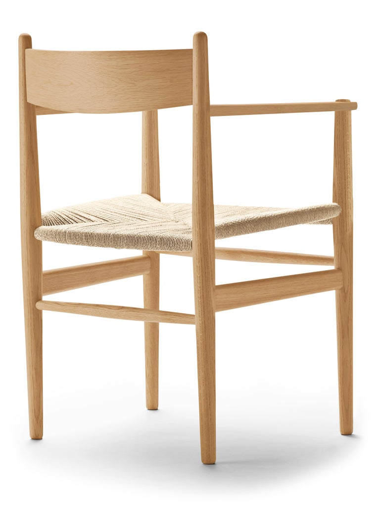 For Sale: Brown (Oak Oil) CH37 Dining Chair in Wood Finishes with Natural Papercord Seat by Hans J. Wegner 3