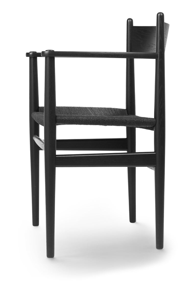For Sale: Black (Oak Painted blacks9000-N) CH37 Dining Chair in Wood Finishes with Black Papercord Seat by Hans J. Wegner 3