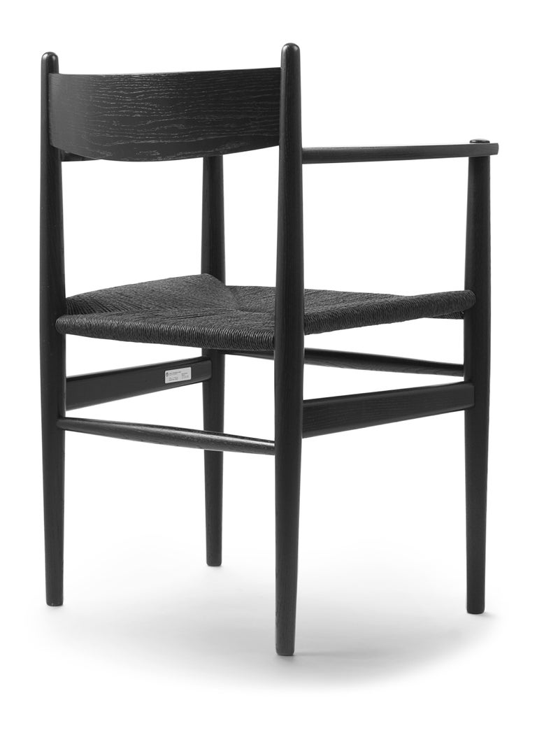 For Sale: Black (Oak Painted blacks9000-N) CH37 Dining Chair in Wood Finishes with Black Papercord Seat by Hans J. Wegner 4