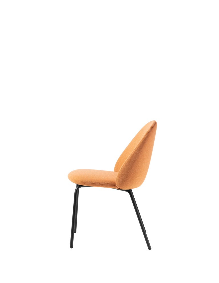 For Sale: Orange (Kvadrat Melange Nap_321) Iola Upholstered Chair in Black Metal Base, by E-ggs 2