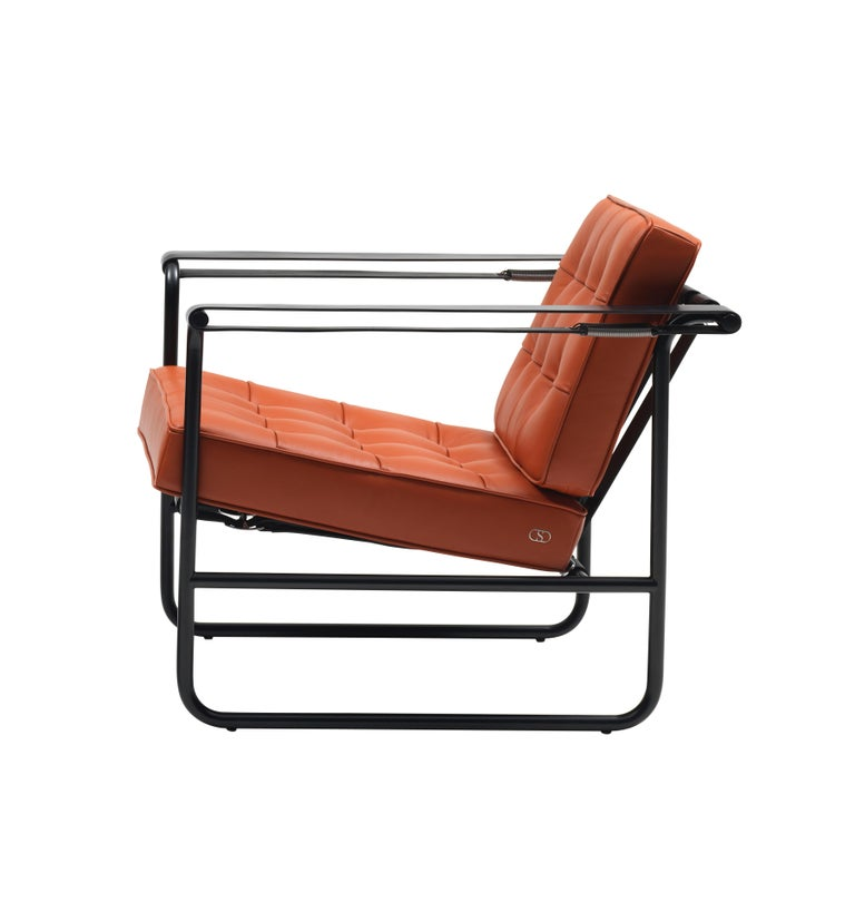 For Sale: Orange (Maine) De Sede International Steel Tube Armchair by Hans Eichenberger 2