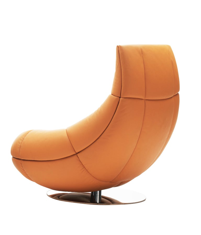 For Sale: Orange (Teak) De Sede Swivel Lounge Chair by Hugo de Ruite