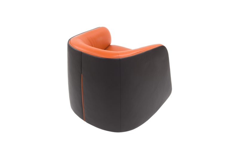 For Sale: Orange (Maine) De Sede Customizable Leather Rocking Chair 2