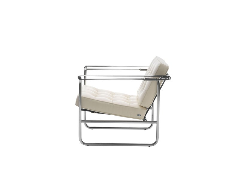 For Sale: White (Snow) De Sede International Steel Tube Armchair by Hans Eichenberger
