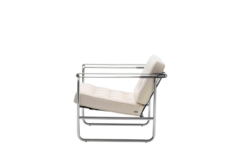 For Sale: White (Offwhite) De Sede International Steel Tube Armchair by Hans Eichenberger