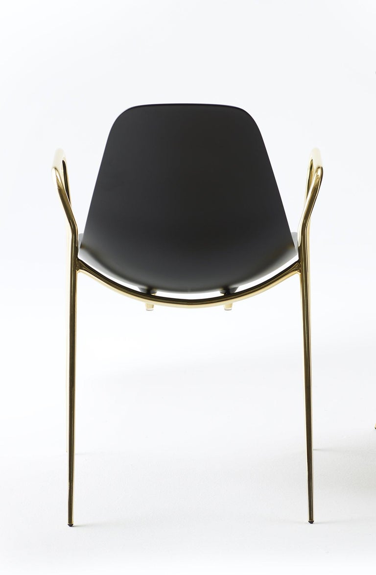 For Sale: Black (Black with Gold Structure) Opinion Ciatti Mammamia Stackable Chair with Armrests Set of 2 2