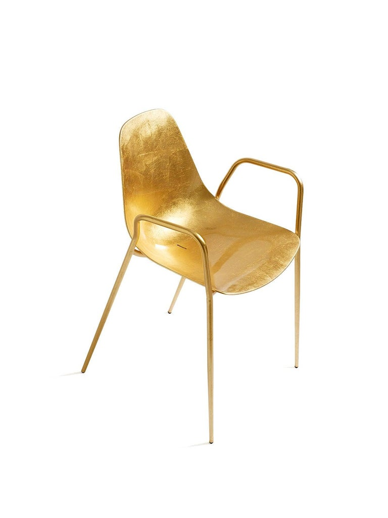 For Sale: Gold (Gold Leaf) Opinion Ciatti Mammamia Stackable Chair with Armrests Set of 2 2