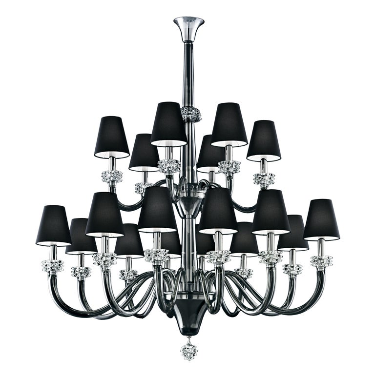 For Sale: Gray (Grey_IC) Amsterdam 5562 18 Chandelier in Chrome & Glass, Black Shade, by Barovier&Toso 2