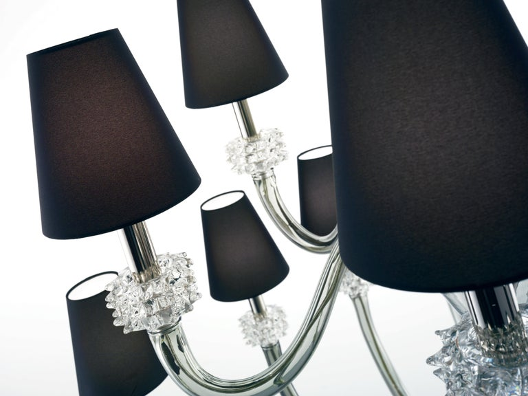 For Sale: Gray (Grey_IC) Amsterdam 5562 18 Chandelier in Chrome & Glass, Black Shade, by Barovier&Toso 5