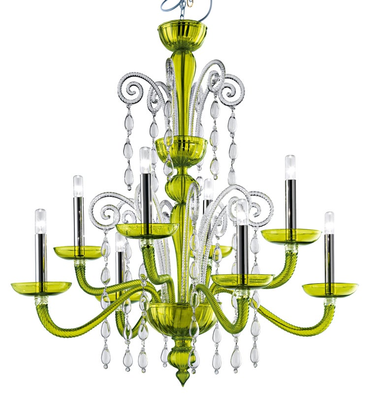 For Sale: Green (Liquid Green_VL) Taymyr 5589 08 Chandelier in Glass with Polished Chrome Finish, by Barovier