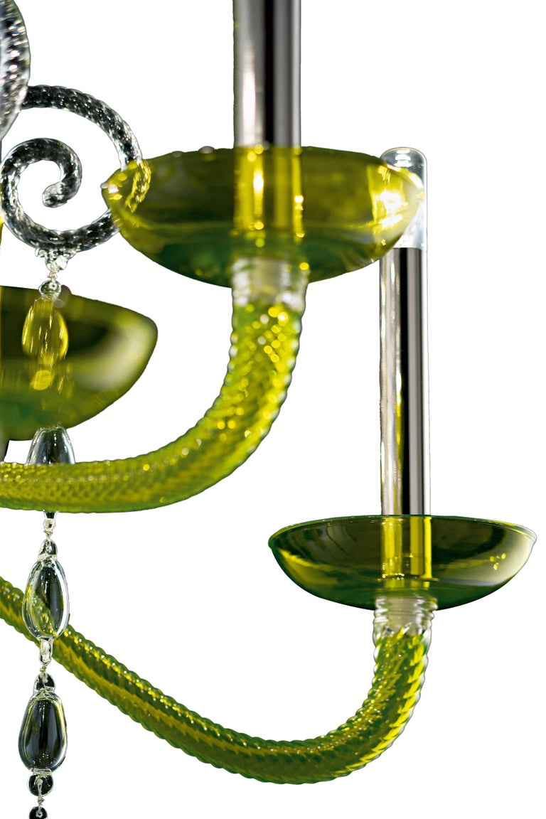 For Sale: Green (Liquid Green_VL) Taymyr 5589 08 Chandelier in Glass with Polished Chrome Finish, by Barovier 2