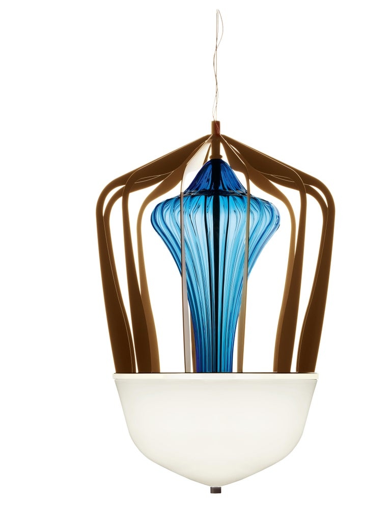 For Sale: Blue (Bluastro_LQ) Robin 7280 Suspension Lamp in Glass with Bronze Finish, by Barovier&Toso 2