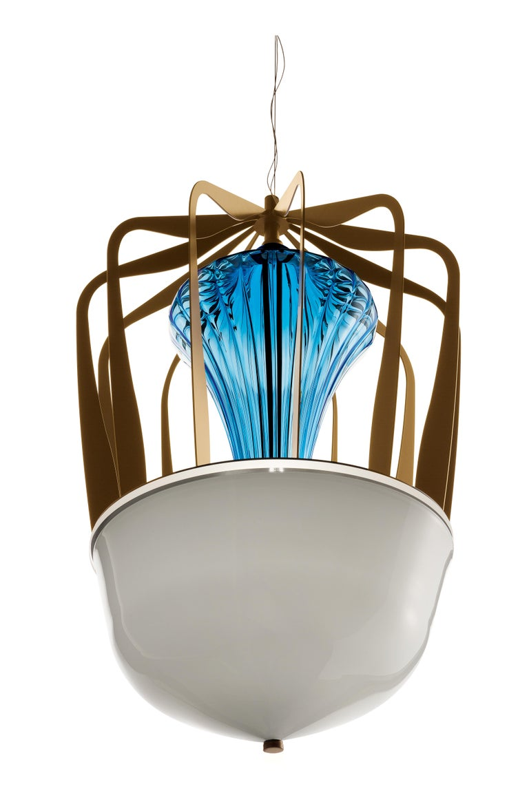For Sale: Blue (Bluastro_LQ) Robin 7280 Suspension Lamp in Glass with Bronze Finish, by Barovier&Toso 4
