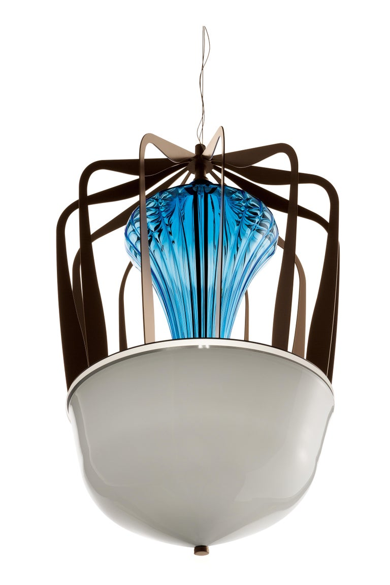 For Sale: Blue (Bluastro_LQ) Robin 7280 Suspension Lamp in Glass with Bronze Finish, by Barovier&Toso 3