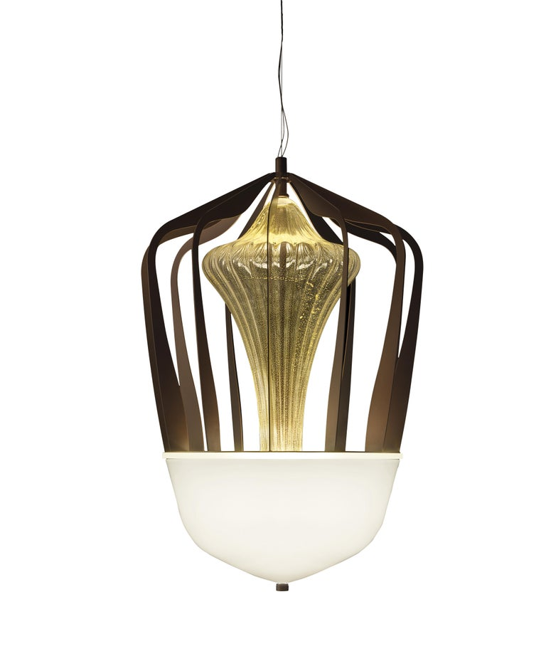 For Sale: Gold (Gold_OO) Robin 7280 Suspension Lamp in Glass with Bronze Finish, by Barovier&Toso
