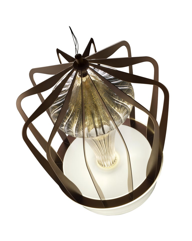 For Sale: Gold (Gold_OO) Robin 7280 Suspension Lamp in Glass with Bronze Finish, by Barovier&Toso 2