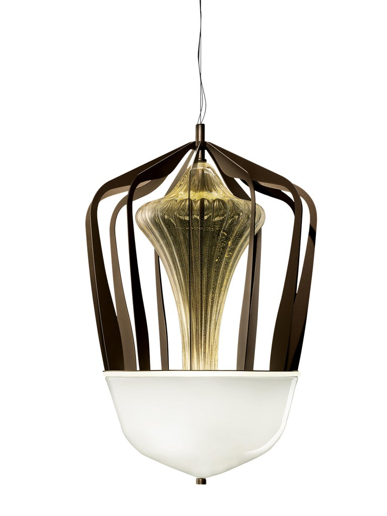 For Sale: Gold (Gold_OO) Robin 7280 Suspension Lamp in Glass with Bronze Finish, by Barovier&Toso 3