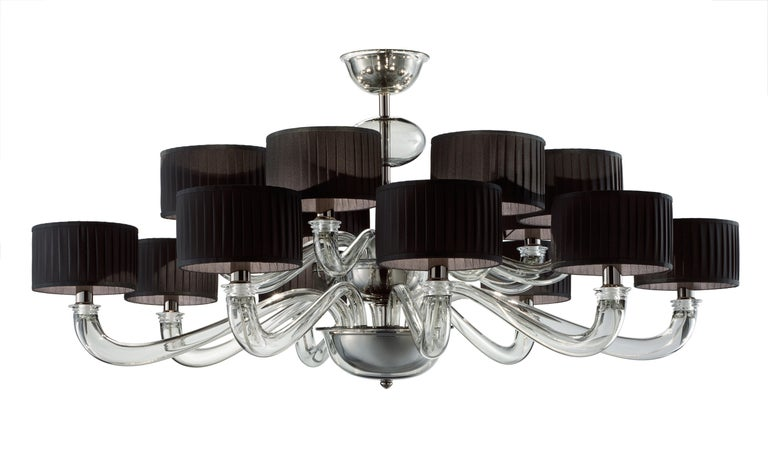 For Sale: Clear (Crystal_CC) Alexandria 5597 16 Chandelier in Glass with Black Shade, by Barovier&Toso