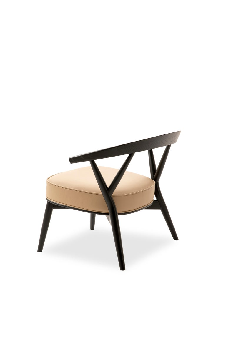 For Sale: Beige (Leather 914) Cappellini Newood Relax Light Armchair in Beech & Ashwood by Brogliato Traverso 4