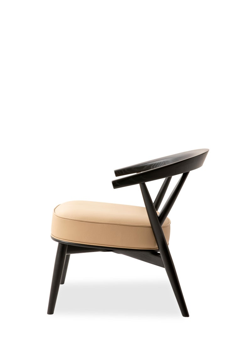 For Sale: Beige (Leather 914) Cappellini Newood Relax Light Armchair in Beech & Ashwood by Brogliato Traverso 3