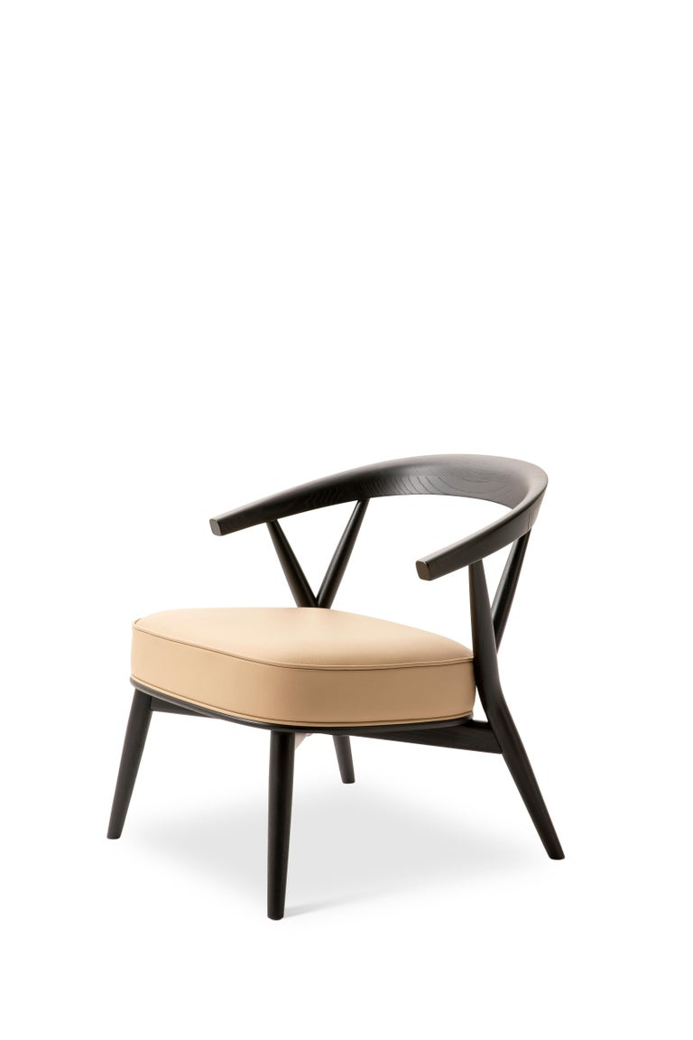 For Sale: Beige (Leather 914) Cappellini Newood Relax Light Armchair in Beech & Ashwood by Brogliato Traverso 2