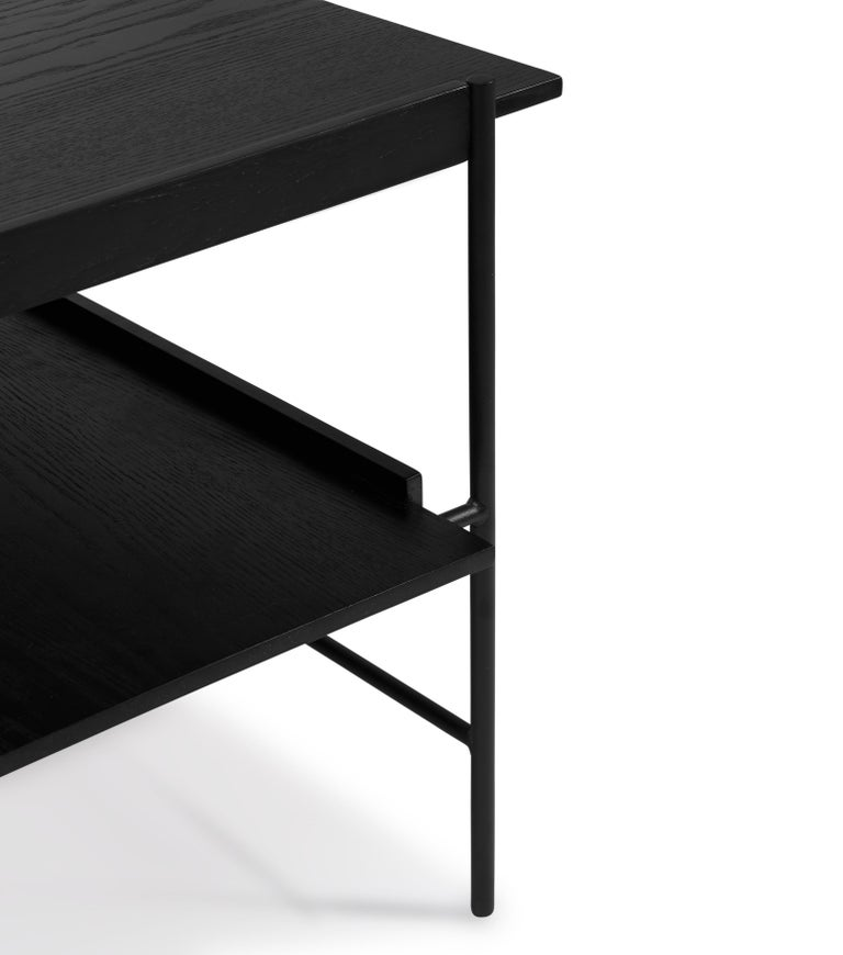 For Sale: Black Kanso Coffee Table in Wood and Steel 2