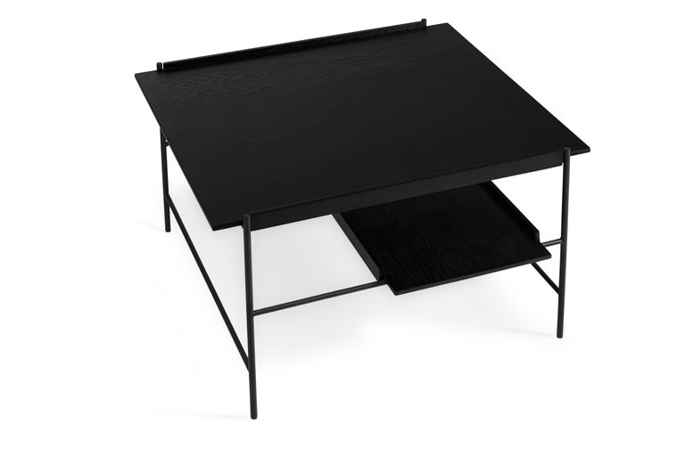 For Sale: Black Kanso Coffee Table in Wood and Steel 4