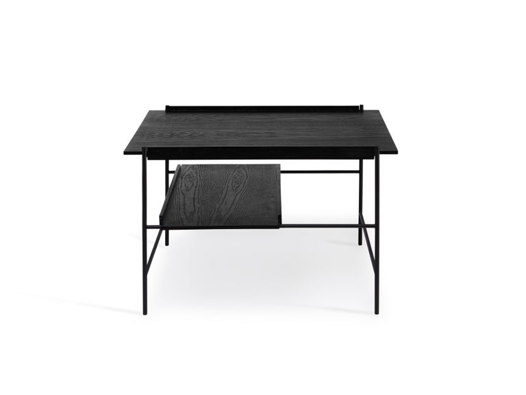 For Sale: Black Kanso Coffee Table in Wood and Steel 5