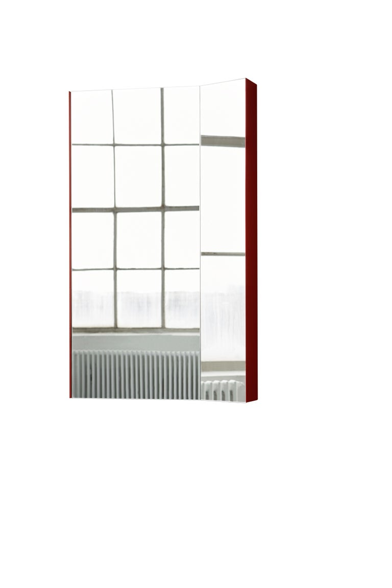 For Sale: Red (Basque Red) Mimesis Planar Floor or Wall Mirror in Powder Coated Steel