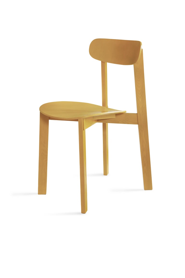 For Sale: Yellow (Turmeric Yellow) Bondi Stackable Dining Chair in Ashwood