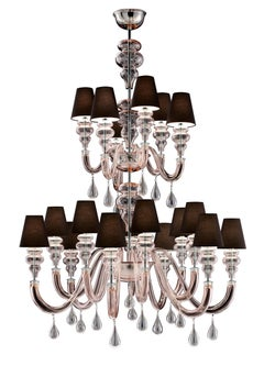 Ran Round 7176 18 Chandelier in Glass with Black Shade, by Barovier&Toso