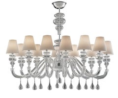 Ran Round 7177 12 Chandelier in Glass with White Shade, by Barovier&Toso